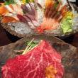 村上牛の朴葉焼き&刺身&茶碗蒸し&カニ鍋