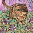 20170720猫桃色イラスト。絵。絵画。水彩色鉛筆。