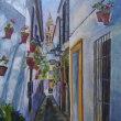 スペイン コルドバ 花の小道の絵
