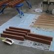 プリアールの洗濯物干し場用のベンチ