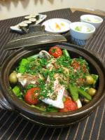小さな土鍋で真鯛のアクアパッツァ♪ゆで卵の塩麹漬け