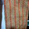 柿の葉と枝で染めた糸の織り上がり