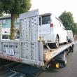 鈑金塗装工場に自社積載車で修理車を持ち込み打ち合わせを!