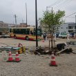 工事中の南口ロータリーにバスが入ってきた!