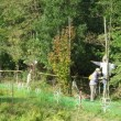 秋晴れ、交流館開放日。稲刈り準備。
