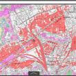 岡山県倉敷市の新倉敷駅前の周辺のゼロメートル地帯(海抜ゼロメートル以下)の範囲の地図