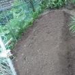 裏の畑耕す