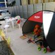 外でのブランチに、テントを張って