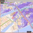 大阪市・尼崎市のゼロ メートル地帯の範囲の地図。0~-1メートル。-1~-2M。-2~-3M。-3M以下。の4段階範囲