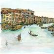 水彩画・ベネチュアを描く  36   グランドキャナル・二艘のゴンドラ    340×260