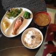 紅鮭と麦ご飯