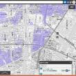 名古屋市と周辺のゼロ メートル地帯の標高の範囲の地図。0~-1メートル。-1~-2M。-2~-3M。-3M以下。の4段階範囲