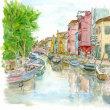水彩画・ベネチュアを描く 15     ブラーノ島の賑やかな通り  340×250