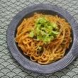 フキノトウのザク切りを明日葉スパゲティに飾る朝