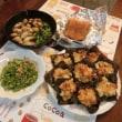 牡蛎マッシュルームのアヒージョ&竹輪キャベツ海苔天ぷら&ピーマン明太マヨ炒め