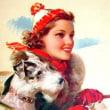 Pin up girls with Dog - Jules Erbit