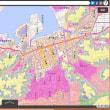 京都府の各市町村の津波避難用の色別の標高地図。ゼロ~5~10~20~30~40メートル、40メートル以上の6段階の標高の範囲の地図