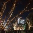 大阪市役所前もライトアップしてます