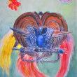 極楽鳥(パプアニューギニアの飾り物)(教室にて)