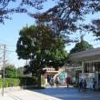 東海道本線は金谷駅を通過する貨物列車 と金谷駅前 (2018年秋)