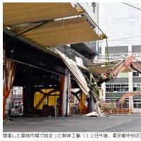 今日以降使えるダジャレ『2171』【社会】■築地市場の解体工事開始…移転反対派は営業続行