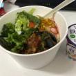 今日のお昼ご飯 茄子と肉味噌のサラダご飯