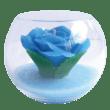 青いバラ・キャンドル(花キャンドル)