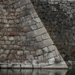 大阪城の石垣を眺めながら