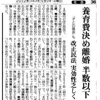 改正民法、実効性乏しく 子との面会、養育費 (2012,9,9 読売新聞)
