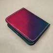 本革:手縫い:シンプル・カードケース:ピンク×青グラデーション