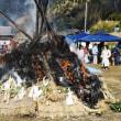 今治市玉川町鈍川でワラシシのどんど焼きが行われました