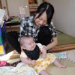生後三ヶ月のひ孫を抱いて嬉しいじじとばば
