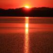 能登半島の付け根 河北潟から見る北アの朝焼け
