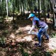 孫とタケノコ掘り
