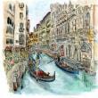 水彩画・ベネチュアを描く  34   ゴンドラと人の波    250×260