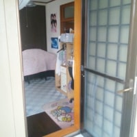 寒い勝手口のドアを断熱ペアガラスタイプのドアへ取替。