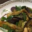 9/18(月・祝)夕食(茄子とピーマンの味噌煮込み)。