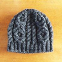 年越し編み物、帽子完成。