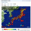 日本近辺で起きた地震の震央分布図。揺れが多いですね。