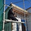 都窪郡早島町の住宅新築現場では外装下地工事中
