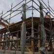 「篭場の(ほぼ平屋)住宅」上棟、超高性能、薄型の軒先