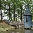 とんがり屋根の水遊び小屋