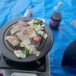 公園で焼肉( ^)o(^ )