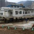 曳家技術で建物を方向転換準備