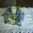 紫陽花リース 花びらを集めて