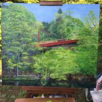 屋外での油彩画制作