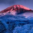 霧氷と富士の夜明け