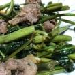 空芯菜と枝豆の夕飯