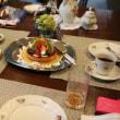 お客用献立 野菜たっぷりのミートローフ・スペアリブと冬瓜のじんわりスープ・ゆでたまごのミモザサラダ・揚げオニオンサラダ・バジル風味のなすサラダ