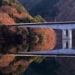 湖畔の冬景色(その2)、映り込み、桐生川ダム湖にて、2018年1月